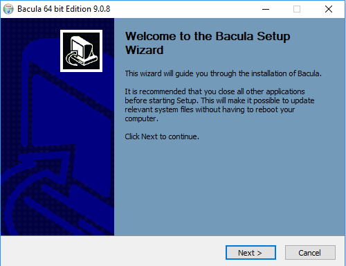 bacula windows client installation process