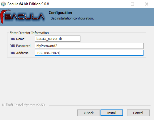 bacula windows client installation server configuration process